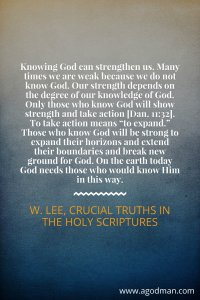 Being those who Know our God and who Show Strength and Take Action (Dan. 11:32)