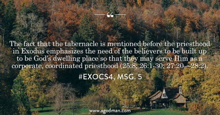 The fact that the tabernacle is mentioned before the priesthood in Exodus emphasizes the need of the believers to be built up to be God's dwelling place so that they may serve Him as a corporate, coordinated priesthood (25:8; 26:1-30; 27:20—28:2). #ExoCS4, msg. 5