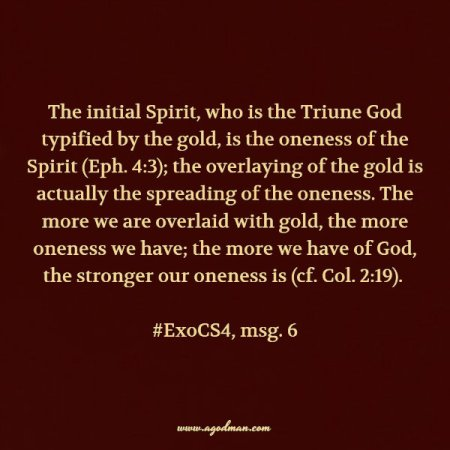 The initial Spirit, who is the Triune God typified by the gold, is the oneness of the Spirit (Eph. 4:3); the overlaying of the gold is actually the spreading of the oneness. The more we are overlaid with gold, the more oneness we have; the more we have of God, the stronger our oneness is (cf. Col. 2:19). #ExoCS4, msg. 6