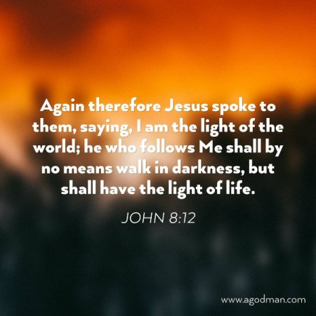 John 8:12 Again therefore Jesus spoke to them, saying, I am the light of the world; he who follows Me shall by no means walk in darkness, but shall have the light of life.