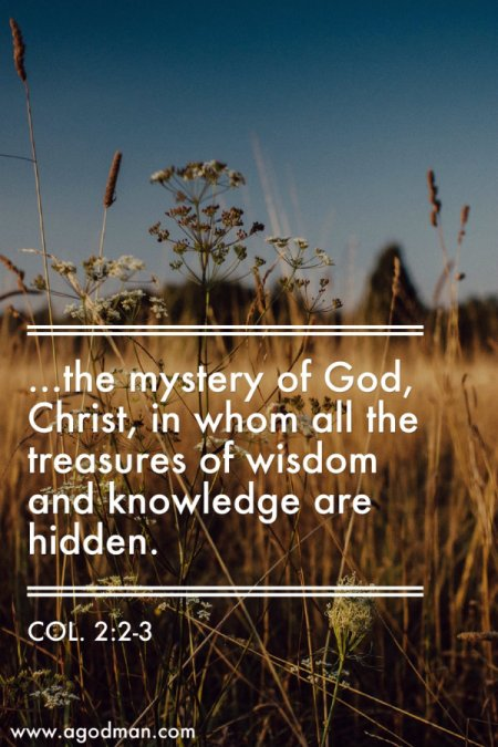 Col. 2:2-3 ...the mystery of God, Christ, in whom all the treasures of wisdom and knowledge are hidden.