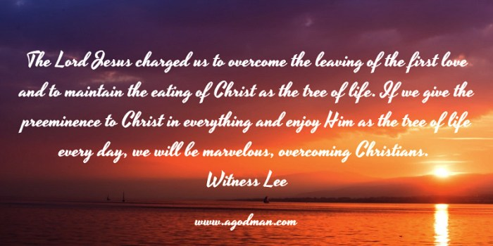 The Lord Jesus charged us to overcome the leaving of the first love and to maintain the eating of Christ as the tree of life. If we give the preeminence to Christ in everything and enjoy Him as the tree of life every day, we will be marvelous, overcoming Christians. Witness Lee