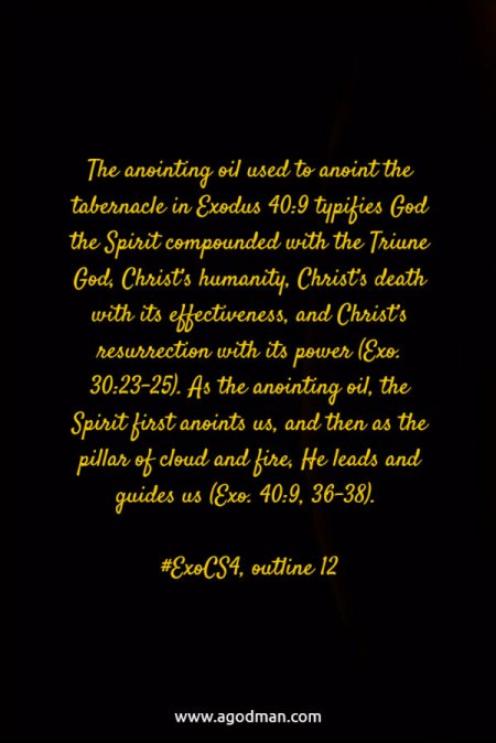 The anointing oil used to anoint the tabernacle in Exodus 40:9 typifies God the Spirit compounded with the Triune God, Christ's humanity, Christ's death with its effectiveness, and Christ's resurrection with its power (Exo. 30:23-25). As the anointing oil, the Spirit first anoints us, and then as the pillar of cloud and fire, He leads and guides us (Exo. 40:9, 36-38). #ExoCS4, outline 12