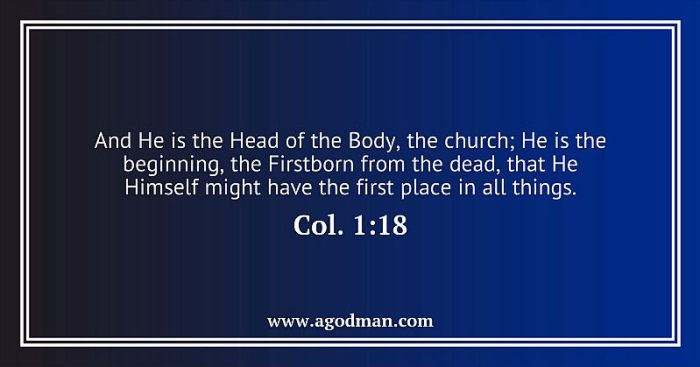 Col. 1:18 And He is the Head of the Body, the church; He is the beginning, the Firstborn from the dead, that He Himself might have the first place in all things.