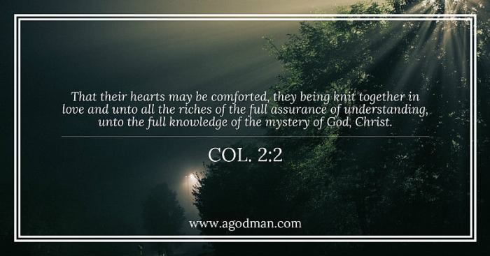 Col. 2:2 That their hearts may be comforted, they being knit together in love and unto all the riches of the full assurance of understanding, unto the full knowledge of the mystery of God, Christ.