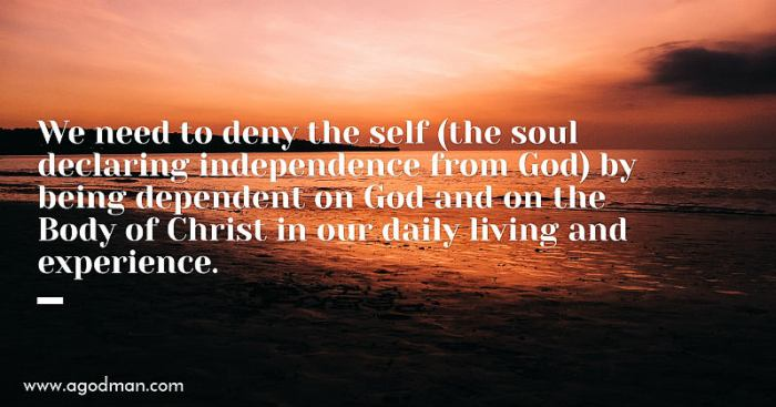 We need to deny the self (the soul declaring independence from God) by being dependent on God and on the Body of Christ in our daily living and experience.