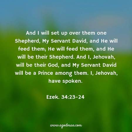 Ezek. 34:23-24 And I will set up over them one Shepherd, My Servant David, and He will feed them; He will feed them, and He will be their Shepherd. And I, Jehovah, will be their God, and My Servant David will be a Prince among them. I, Jehovah, have spoken.