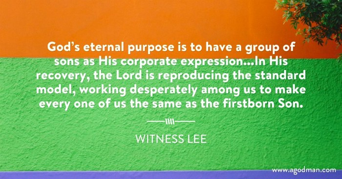 God's eternal purpose is to have a group of sons as His corporate expression...In His recovery, the Lord is reproducing the standard model, working desperately among us to make every one of us the same as the firstborn Son. W. Lee