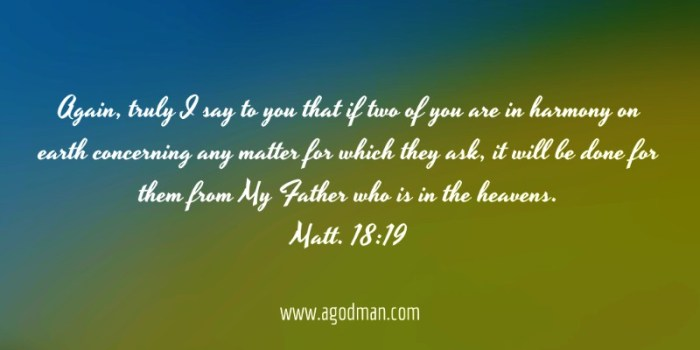 Matt. 18:19 Again, truly I say to you that if two of you are in harmony on earth concerning any matter for which they ask, it will be done for them from My Father who is in the heavens.