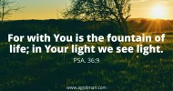 Psa. 36:9 For with You is the fountain of life; in Your light we see light.