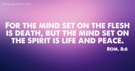 Rom. 8:6 For the mind set on the flesh is death, but the mind set on the spirit is life and peace.
