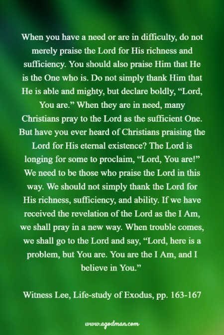 "When you have a need or are in difficulty, do not merely praise the Lord for His richness and sufficiency. You should also praise Him that He is the One who is. Do not simply thank Him that He is able and mighty, but declare boldly, ""Lord, You are."" When they are in need, many Christians pray to the Lord as the sufficient One. But have you ever heard of Christians praising the Lord for His eternal existence? The Lord is longing for some to proclaim, ""Lord, You are!"" We need to be those who praise the Lord in this way. We should not simply thank the Lord for His richness, sufficiency, and ability. If we have received the revelation of the Lord as the I Am, we shall pray in a new way. When trouble comes, we shall go to the Lord and say, ""Lord, here is a problem, but You are. You are the I Am, and I believe in You."" Witness Lee, Life-study of Exodus, pp. 163-167"