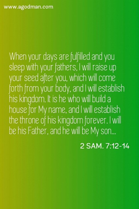 2 Sam. 7:12-14 When your days are fulfilled and you sleep with your fathers, I will raise up your seed after you, which will come forth from your body, and I will establish his kingdom. It is he who will build a house for My name, and I will establish the throne of his kingdom forever. I will be his Father, and he will be My son...