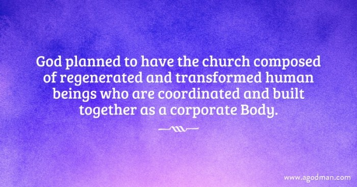 God planned to have the church composed of regenerated and transformed human beings who are coordinated and built together as a corporate Body.
