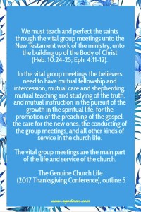 Crucial Points of the Scriptural Way to Meet for the Building up of the Body of Christ