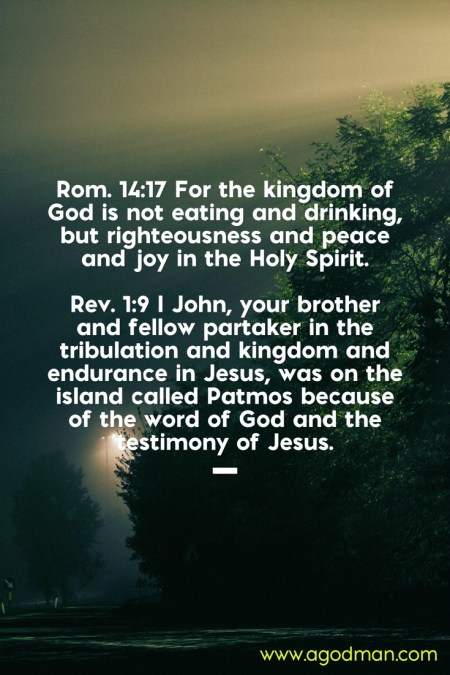 Rom. 14:17 For the kingdom of God is not eating and drinking, but righteousness and peace and joy in the Holy Spirit. Rev. 1:9 I John, your brother and fellow partaker in the tribulation and kingdom and endurance in Jesus, was on the island called Patmos because of the word of God and the testimony of Jesus.