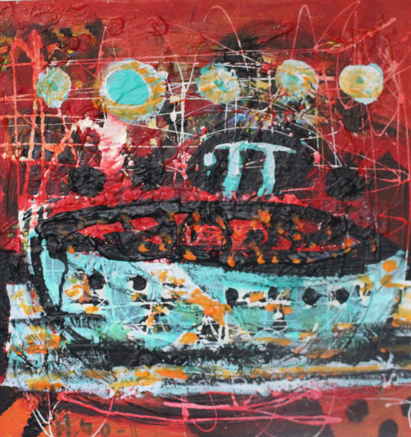 "Hilde Gustava, ""The Great Journey of Me with Pi,"" Acrylic on Canvas, 19.5"" x 19.5"""