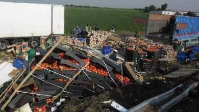Photo of إصابة شخصين وخسارة أطنان من الطماطم في حادثة سير في الطريق السيار اليبضاء سطات