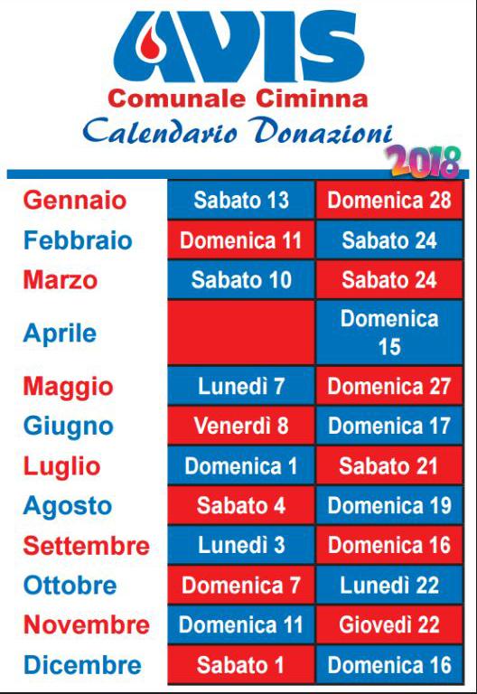Calendario Avis.Calendario Donazioni Agora Ciminna