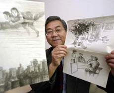 Sun Shili shows off his drawings