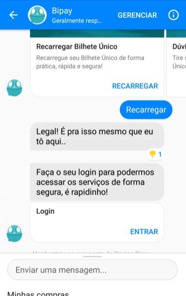 chatbot bipay recarga de celular e bilhete único