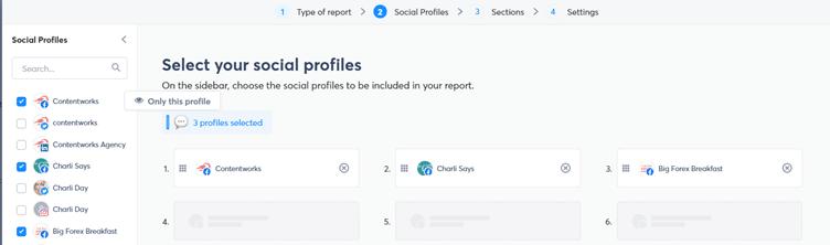 screenshot of social media reporting