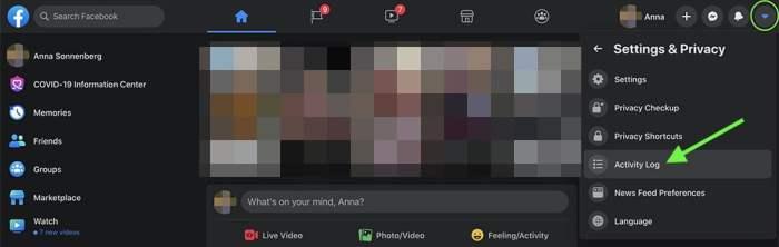 how to find Facebook Activity Log on desktop a