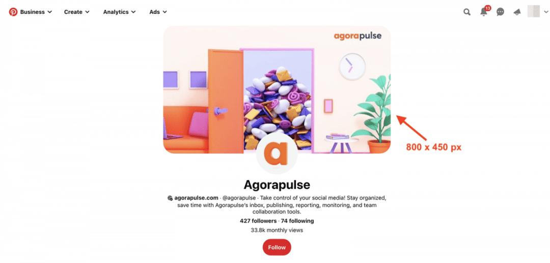 social media image sizes agorapulse pinterest profile cover image size
