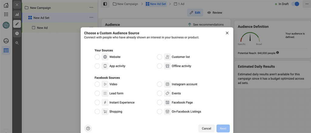Facebook Ads custom audience
