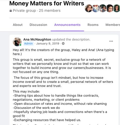 Facebook group announcement