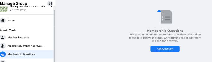 Facebook Group membership questions