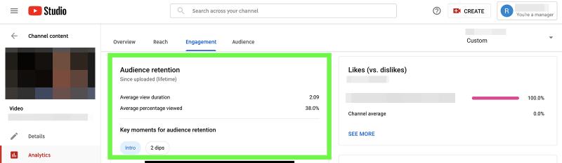 YouTube metrics - audience retention