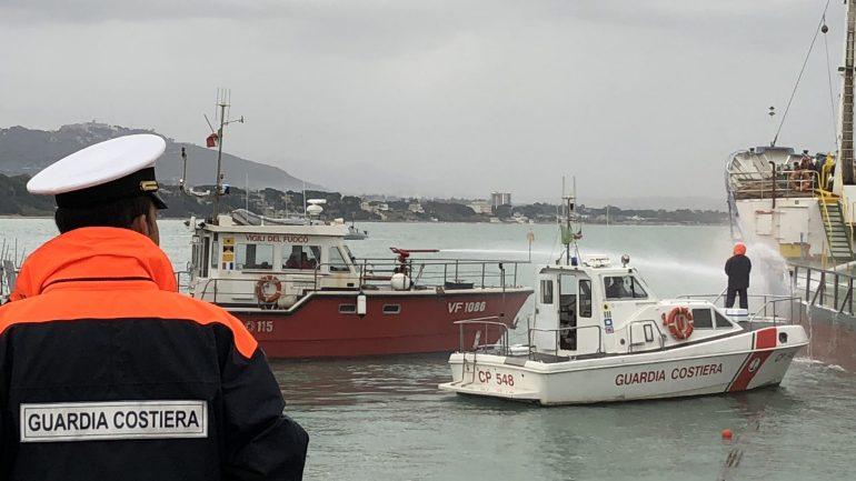 Formia. Esercitazione antincendio inarea portuale