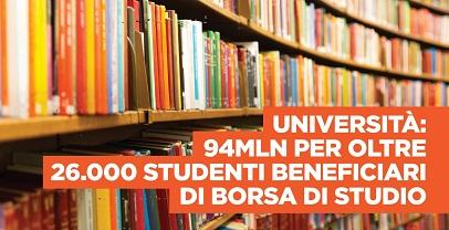 Regione Lazio. 48 milioni di euro per il diritto allo studio universitario
