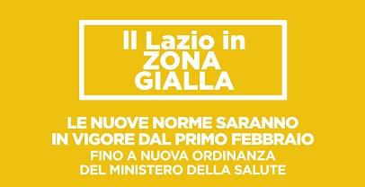 Lazio in zona gialla dal 1 febbraio
