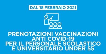 Sanità regionale. Da domani prenotazioni vaccino persanale scolastico e universitario under 55