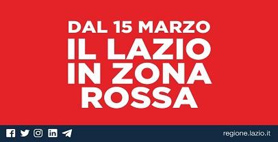 Lazio in zona rossa da oggi