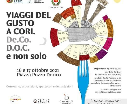 VIAGGI DEL GUSTO A CORI: 16 e 17 ottobre in piazza Pozzo Dorico