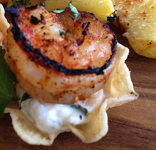 Grilled Spicy Shrimp Cups with Pineapple Aioli #SundaySupper