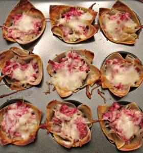 Reuben Wonton Cupcakes-my most requested recipe! All the flavors you love in a Reuben sandwich, baked in mini wonton cups for a delicious appetizer.