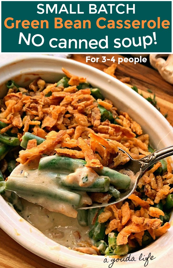 pinterest pin showing white casserole dish with spoon of green bean casserole