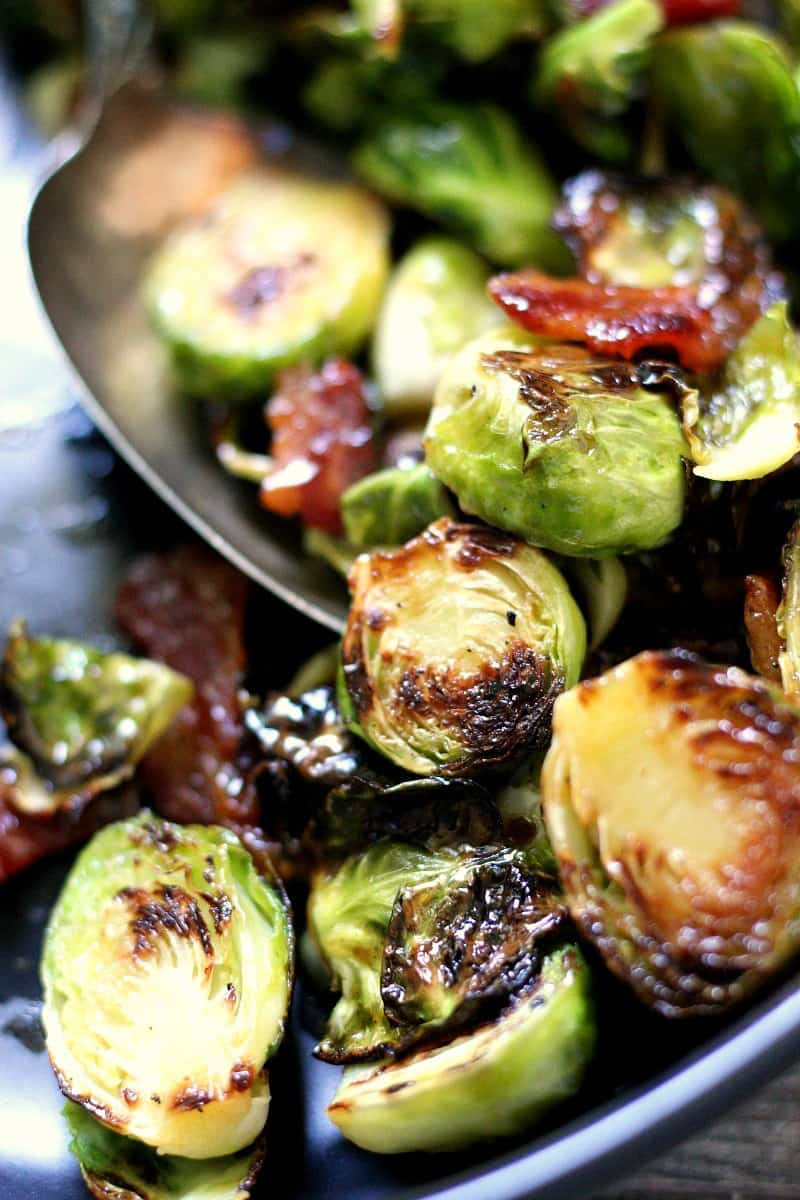 bowl of caramelized brussels sprouts