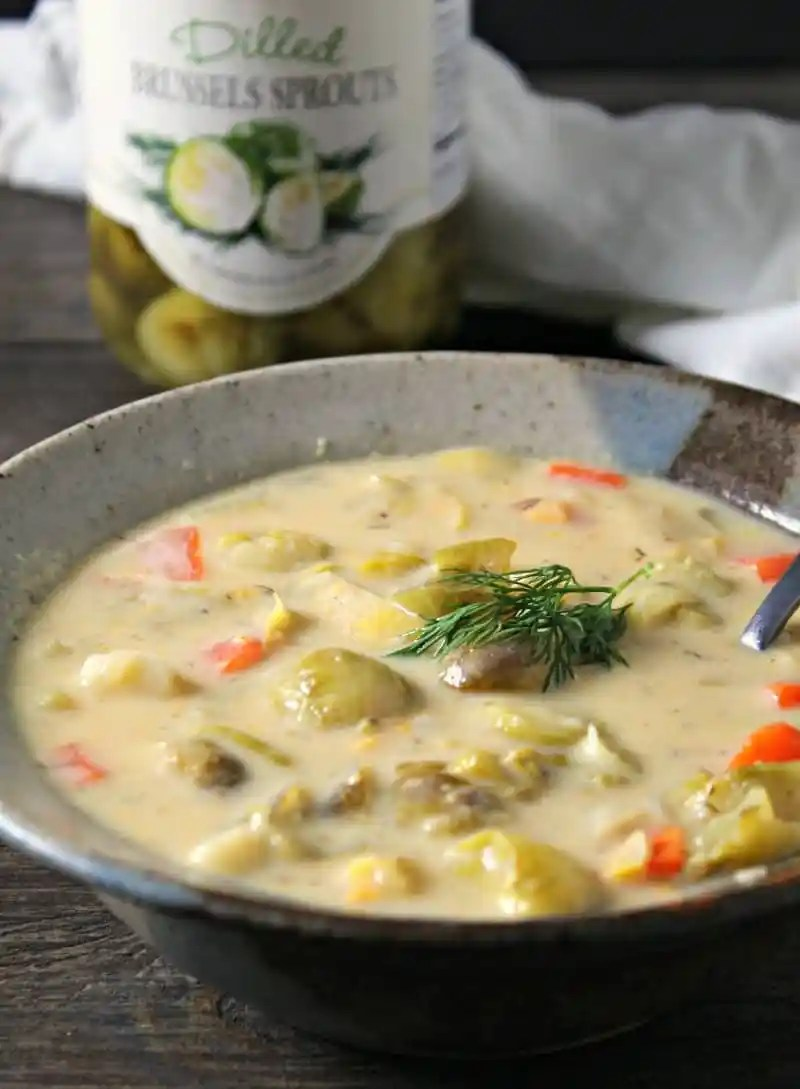 brussels sprouts soup recipe ~ simple weeknight soup with tangy dilled brussels sprouts, potatoes and carrots in a creamy broth.