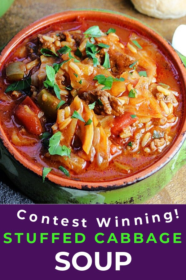 pinterest pin for stuffed cabbage showing overhead view of green bowl and tomato based soup