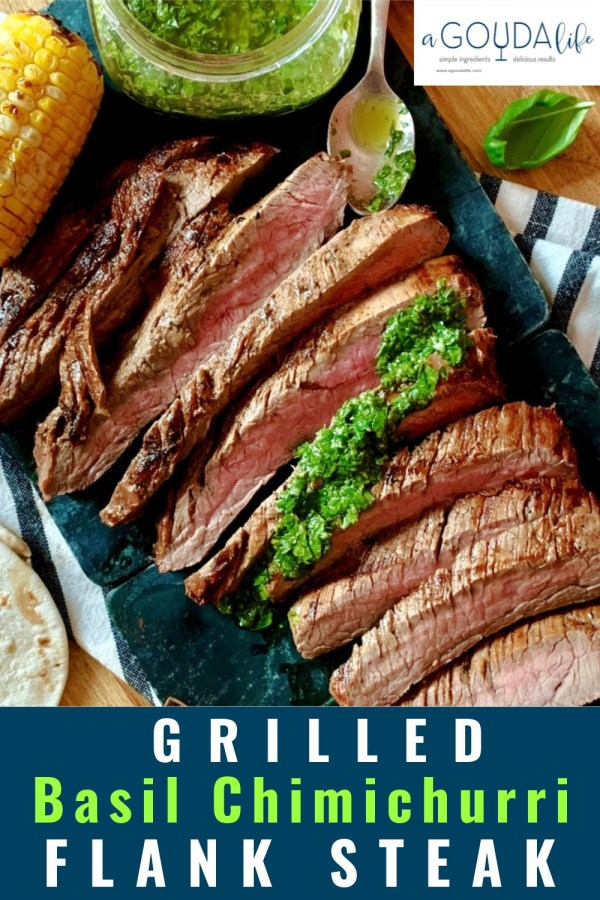 pinterest pin - overhead view of sliced steak drizzled with chimichurri