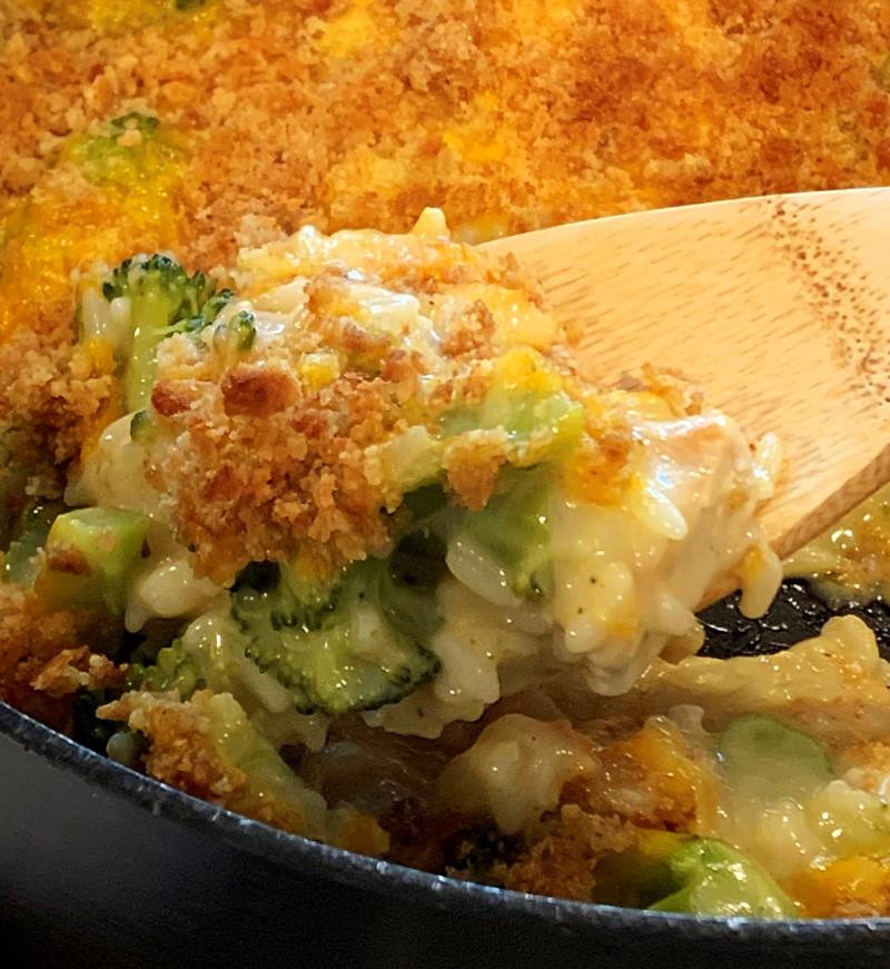 closeup of chicken broccoli rice casserole in skillet