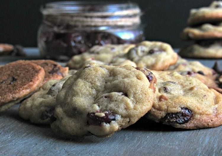 Cranberry Chocolate Chip Cookies~soft inside, slightly crisp bottom. A perfect blend of the sweet fall flavor of cranberries and semi sweet chocolate.
