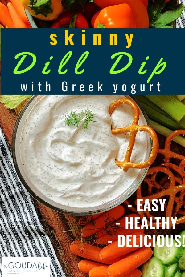 pinterest pin showing closeup of dill dip overhead with pretzels for dipping