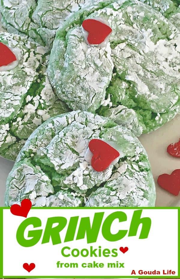 pinterest pin bright green crinkle cookies with red candy hearts.