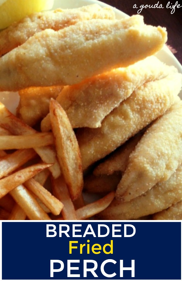 pinterest pin for fried perch shown with french fries